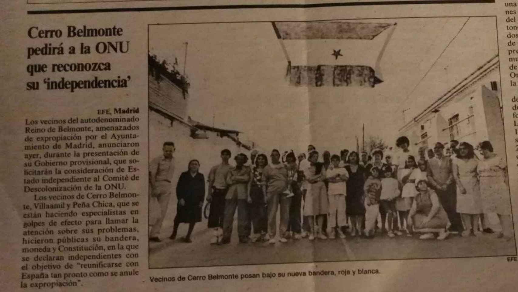 Los vecinos de Cerro Belmonte, bajo su nueva bandera con la estrella expropiada a Madrid